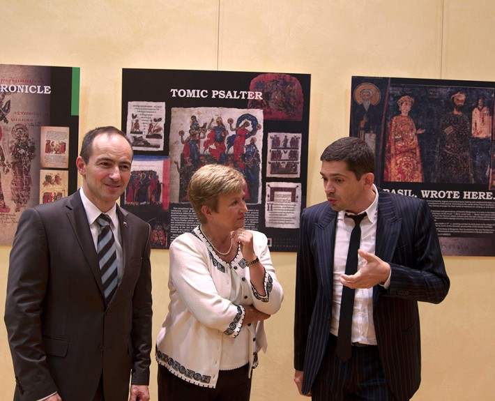 Dr. Milen Vrabevski, European commissioner Kristalina Georgieva and Dr. Andrey Kovatchev, Member of the European Parliament at the official opening of the exhibition SS CYRIL AND METHODIUS AND THE BULGARIAN ALPHABET