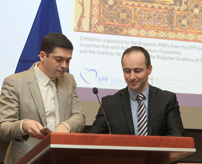 "Dr. Milen Vrabevski and Dr. Andrey Kovatchev, Member of the European parliament - official opening of the event ""BULGARIA – SANCTUARY OF THE WORD"" at the European parliament in Brussels"