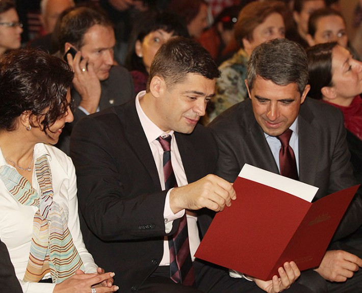 "Dr. Milen Vrabevski and Mr. Rosen Plevneliev, President of the Republic of Bulgaria at the ""European Citizens' Prize"" National award ceremony in Sofia, 11 Oct 2013"